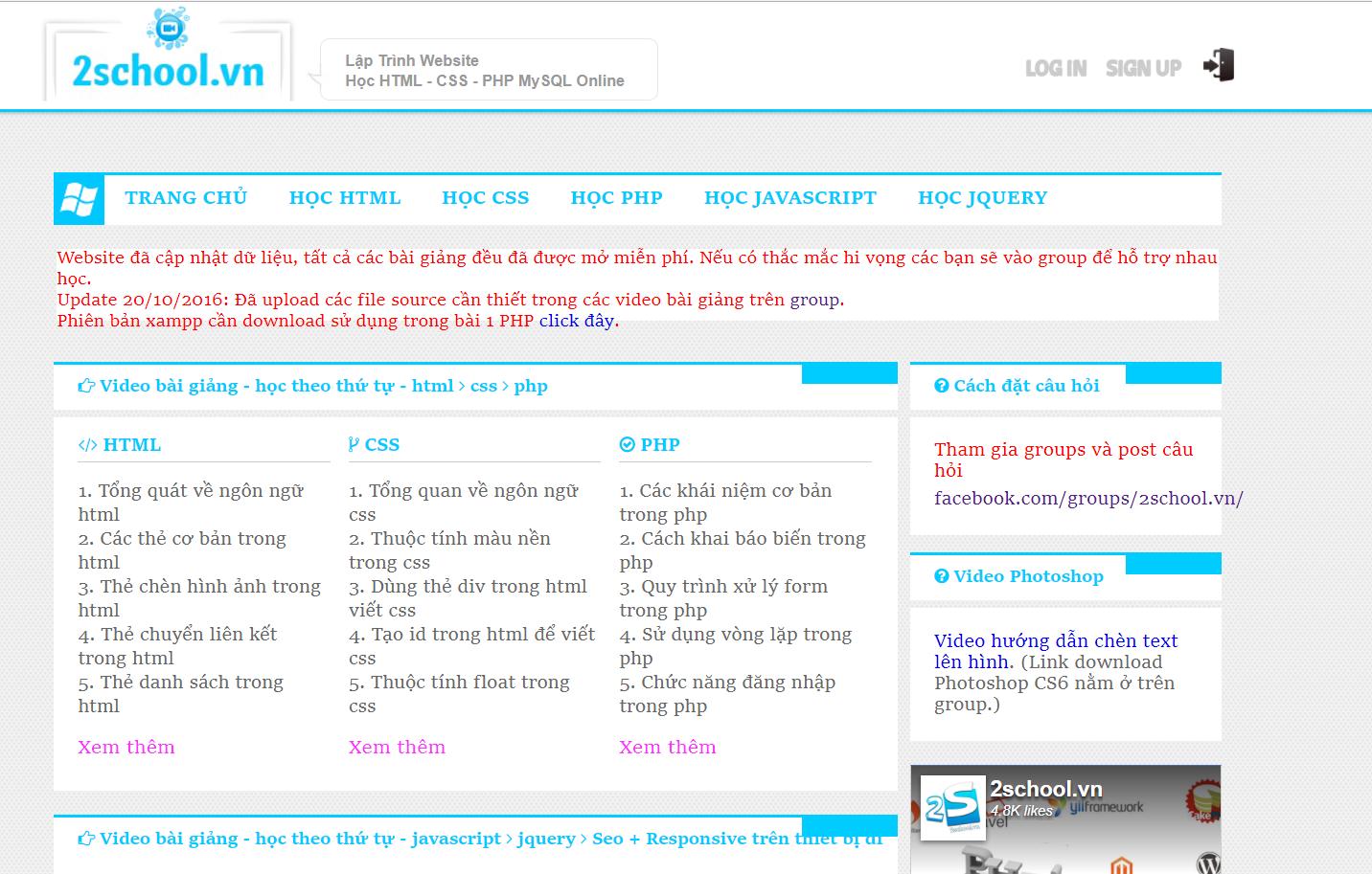 tự học lập trình web tại 2school.vn